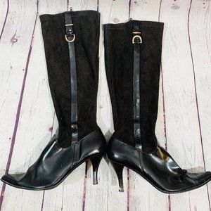 Etienne Aigner black pointed heel tall boots 10